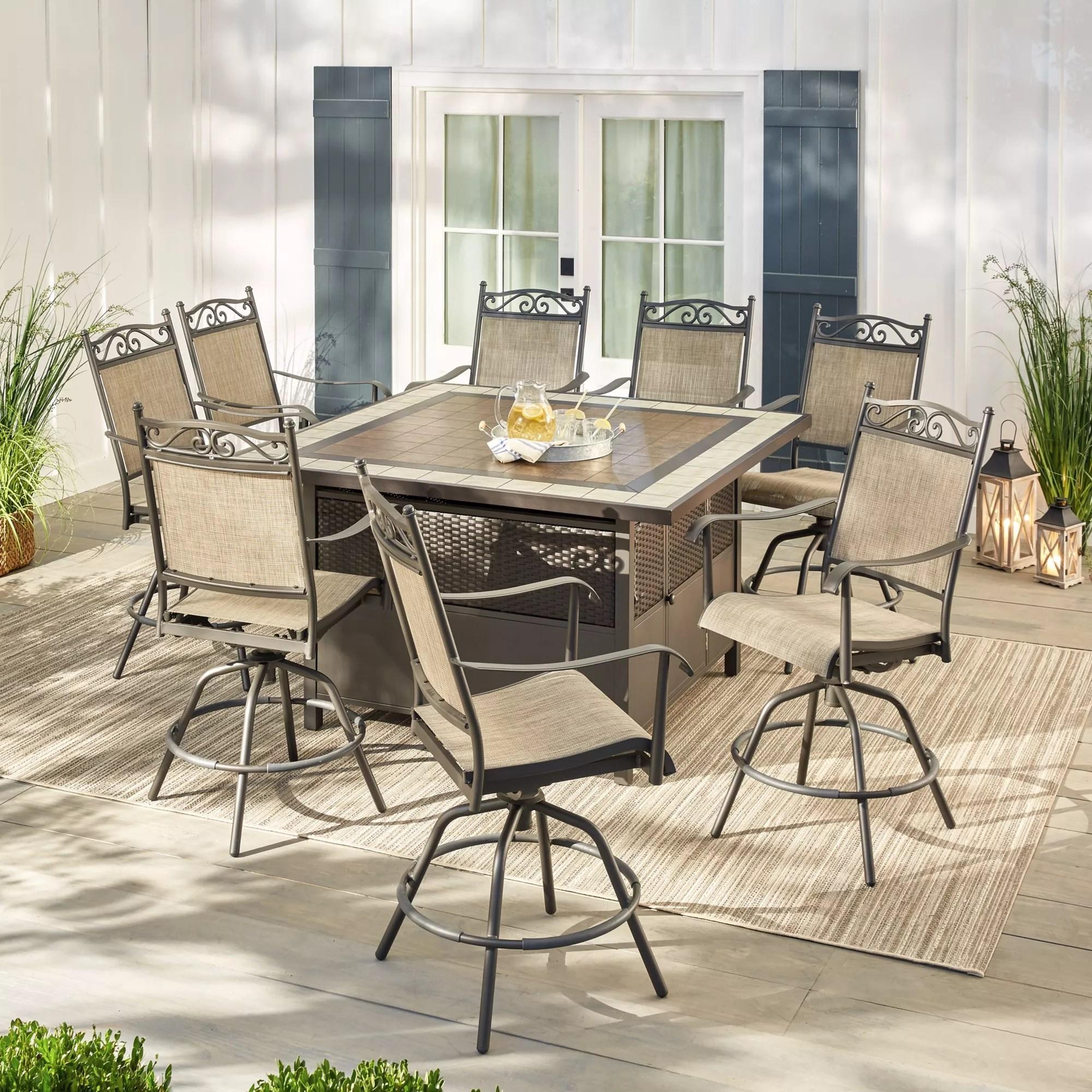 berkley jensen venice 9pc aluminum high dining set with table storage