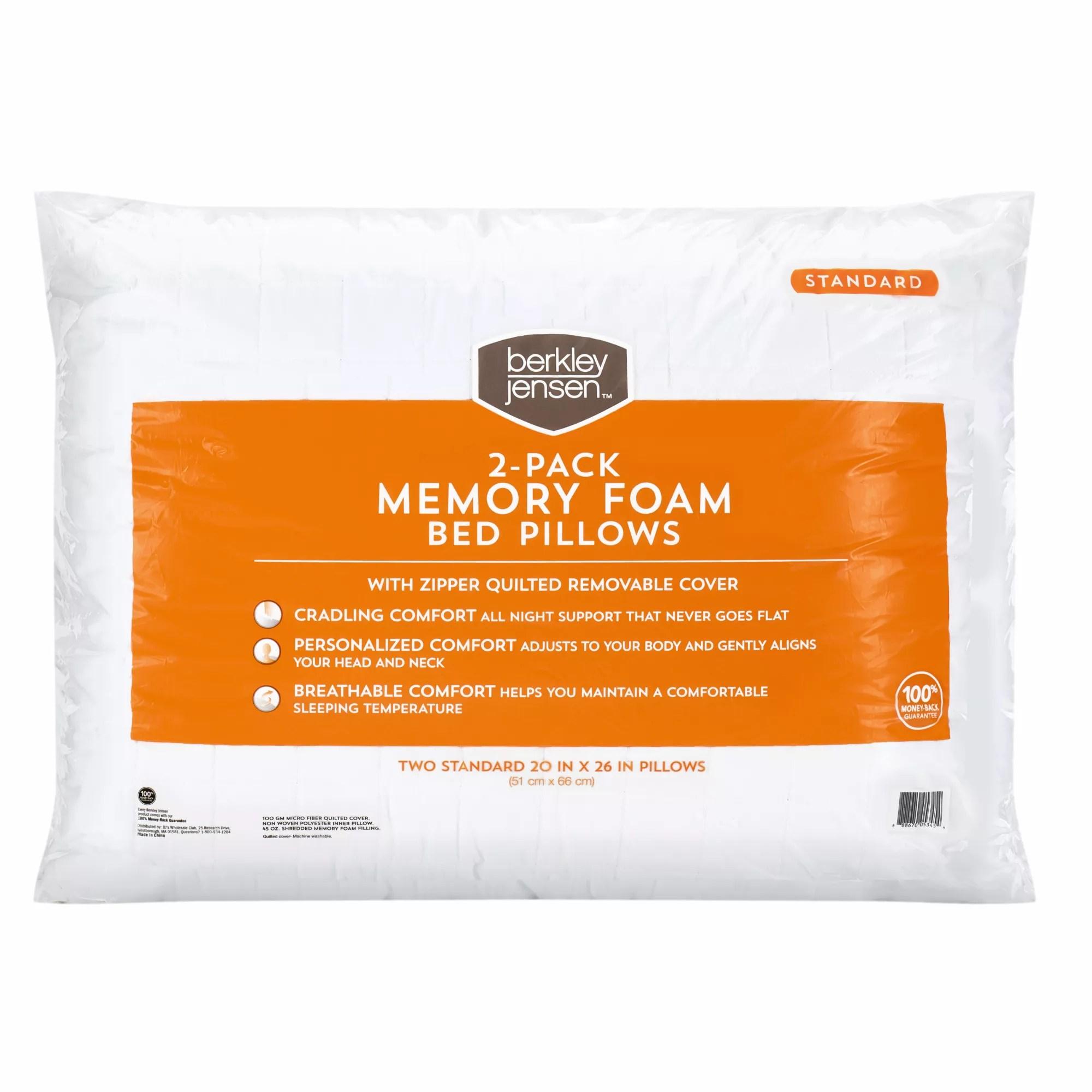 berkley jensen standard size memory foam pillow 2 pk