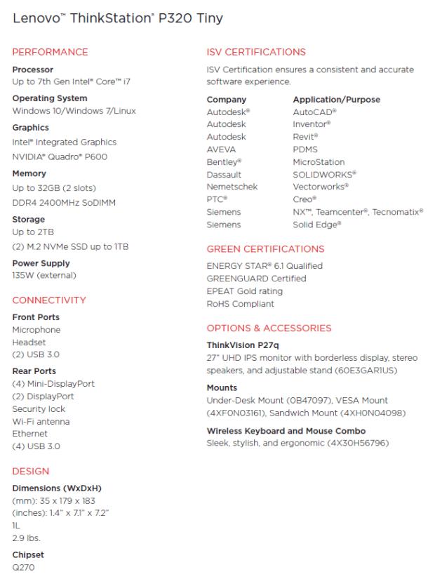 Lenovo ThinkStation P320 Tiny Specs