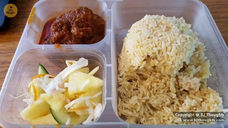 quarantine lunch nasi minyak ayam masak merah