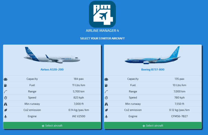 Airline Manager 4 Boeing Airbus 737-800 Game A320-200