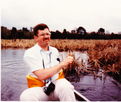 Ted Anderson in canoe on senior trip in Charleston; photo taken by Barb, the only other person in the canoe
