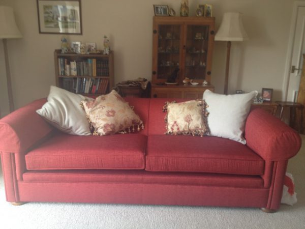 Re-upholstered sofa