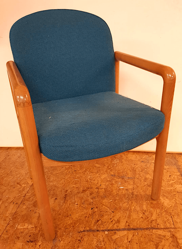 Dining Chair prior to reupholstery in leather.