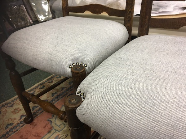 Dining chairs with pin edged corners