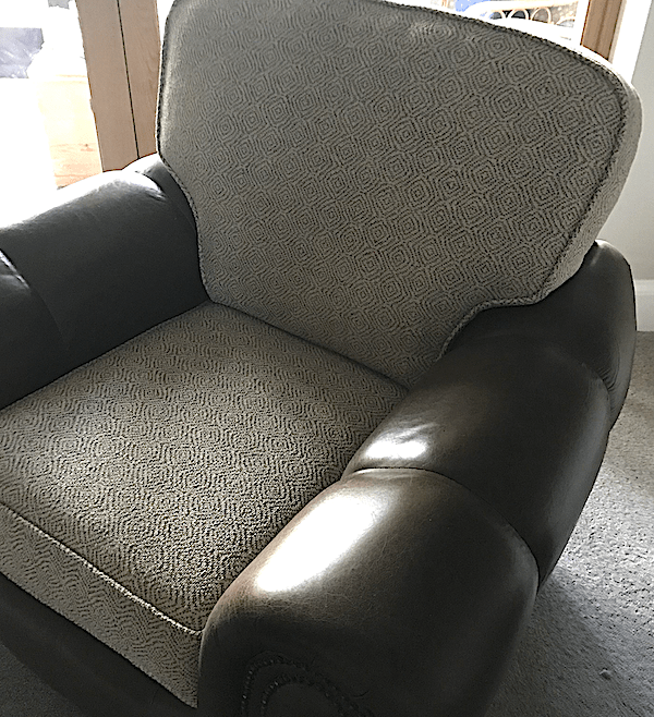 Leather chair with Linwood seat and back
