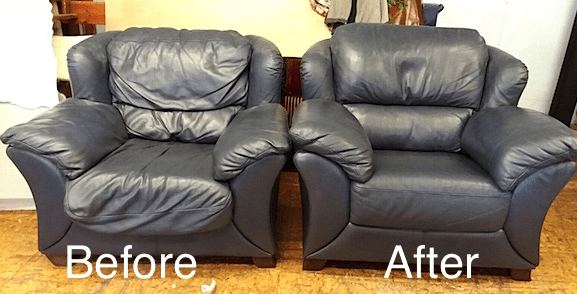 Leather chairs - before and after