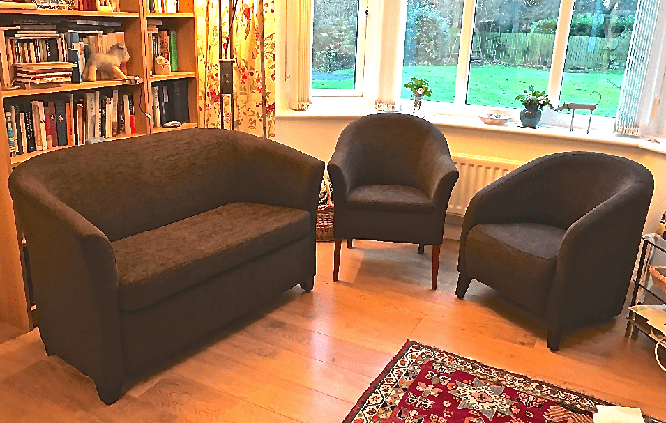 Originally Upholstered In Leather We Reupholstered This Lovely Set Of Study  Or Library Sofa And Two Chairs. The Chairs Are Of A Different Style And The  ...