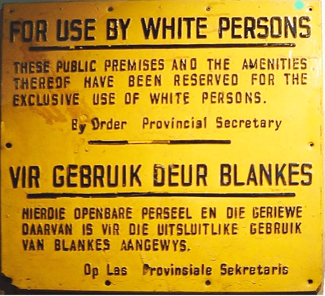 South African apartheid sign