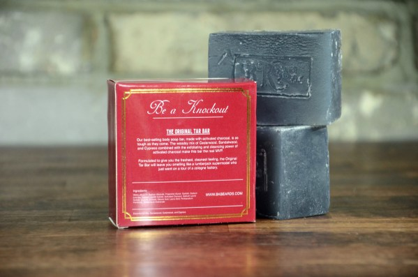 The Original Tar Bar Artisan Body Soap with Back of Box