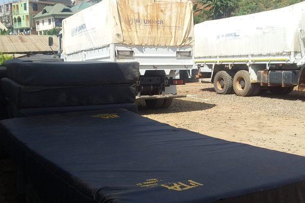 Déplacés de Nyiragongo à  Bukavu : 40 de plus de 200 matelas réservés aux déplacés  , seraient venus du centre Covid-19 de Bwindi.