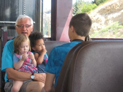 Riding the train in Summerland.