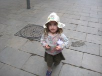 A new hat for summer- Nora thinks it looks like a cowboy hat. So it is Cowboy Nora and Cowboy Daddy etc. when she has it on.