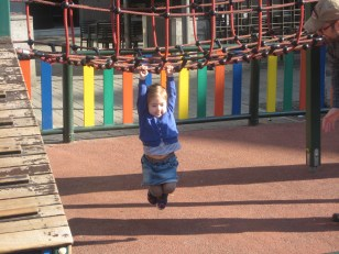 Nora practicing her monkey hang.
