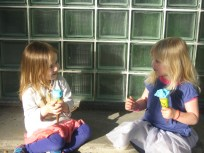 Nora and Emma with a post dance ice-cream.