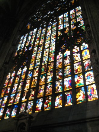 Stained glass in Milan Cathedral.