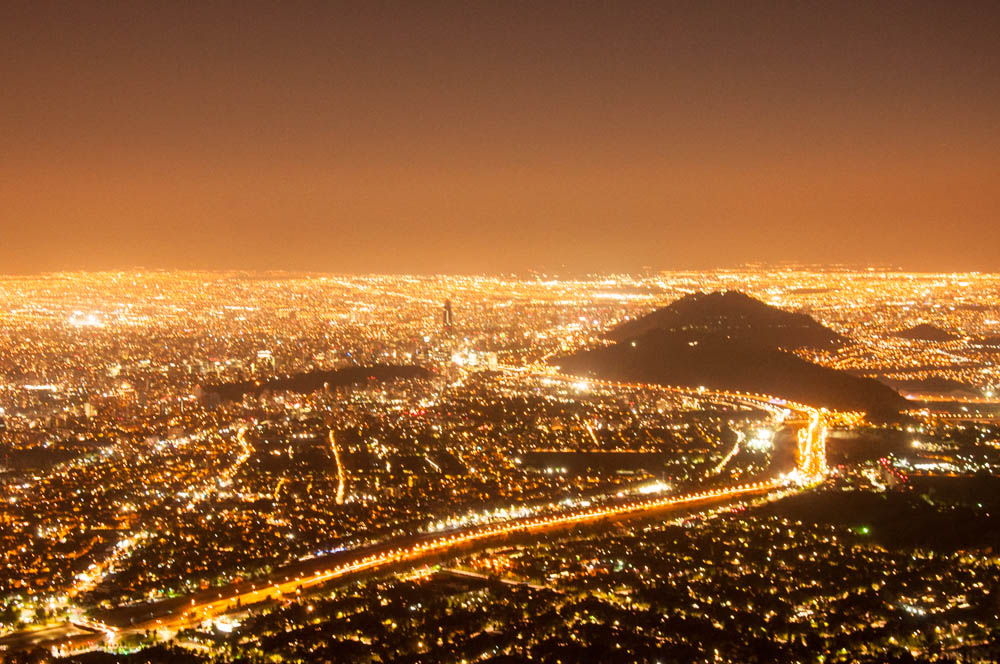 Santiago lights at night