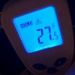 Temperate gun shows temperature of floor near paranormal hotspot, in Brooklyn NY.