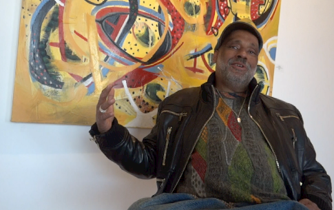 """Danny Simmons discusses his latest exhibit, """"Noisy in the Next Room,"""" showing now at The Skylight Gallery."""
