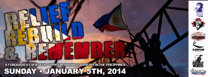 Relief. Rebuild. Remember. A fundraiser for Typhoon Haiyan Survivors in the Philippines
