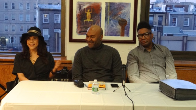 """(l to r) Rosie Perez, Nelson George and Tyrone Proctor at Restoration Plaza for George's book signing of """"The Hippest Trip in America"""""""