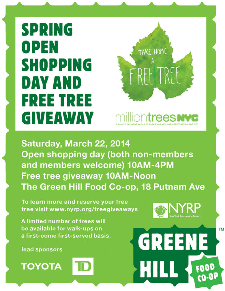 The Green Hill Food Coop Presents: Spring Open Shopping Day and Free Tree Giveaway