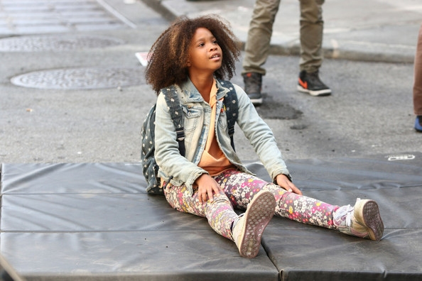 Quvenzhané Wallis during the filming of  Annie