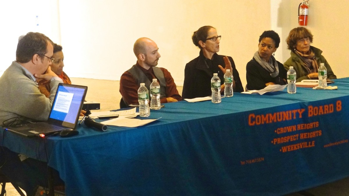 """Mindy Duitz, CEO of The Brooklyn Children's Museum, speaks on the """"Exapnding our Culture Assets in Crown Heights"""" panel at the Economic Development Forum, hosted by Community Board 8. Joining her were (l to r) Panel Moderator James Ellis, CB8 member; Tia Powell Harris, executive director of the Weeksville Heritage Center; Andrew Steininger, vice president of economic development at the Brooklyn Chamber of Commerce; and Regine Roumain, executive director of the Haiti Cultural Exchange"""