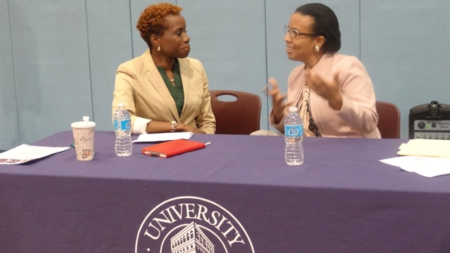City Councilmember Laurie Cumbo and NYCHA Commissioner Shola Olatoye at a town hall meeting on public housing