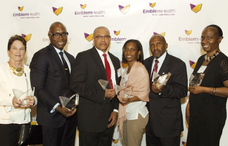 (Left to Right) Joanne Oplustil, President and Chief Executive Officer, CAMBA; Charles A. Archer, Esq, Chief Executive Officer, Evelyn Douglin Center for Serving People in Need; Dr. Andre K. Peck, Executive Director, Haitian-American Community Coalition; Nadine Juste-Beckles, Board Member, Dispora Community Services; Harvey Lawrence, President and Chief Executive Officer, Brownsville Multi-Service Family Health Center; Tracey Capers, Executive Vice President for Programs, Bedford Stuyvesant Restoration Corporation