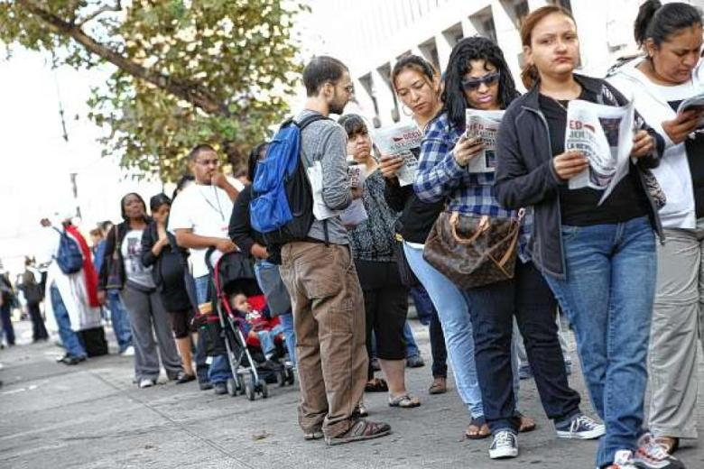 Bronx residents on line at HRA office