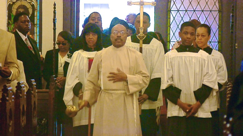 Worshipers in procession at St. Philip's Episcopal Church in Bedford-Stuyvesant, Brooklyn in celebration of its 115th anniversary Photo: Lyndonne Payne