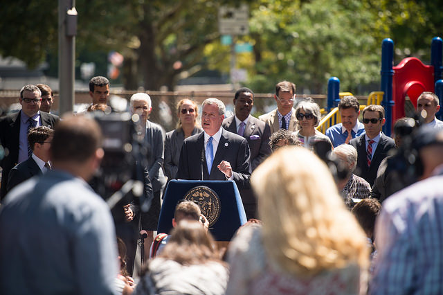 Thursday, 8/28/2014: Mayor Bill de Blasio announces the City's massive grassroots effort to reach families in every neighborhood has enrolled an unprecedented 50,407 children in high-quality full-day pre-K programs. Credit: Rob Bennett/Mayoral Photography Office.