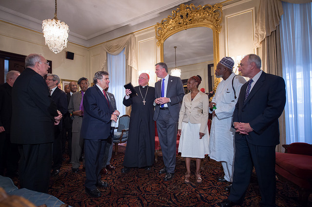 Mayor Bill de Blasio attends an interfaith roundtable meeting on strengthening police-community relations with members of New York City's clergy, hosted by Timothy Cardinal Dolan. Credit: Rob Bennett/Mayoral Photography Office