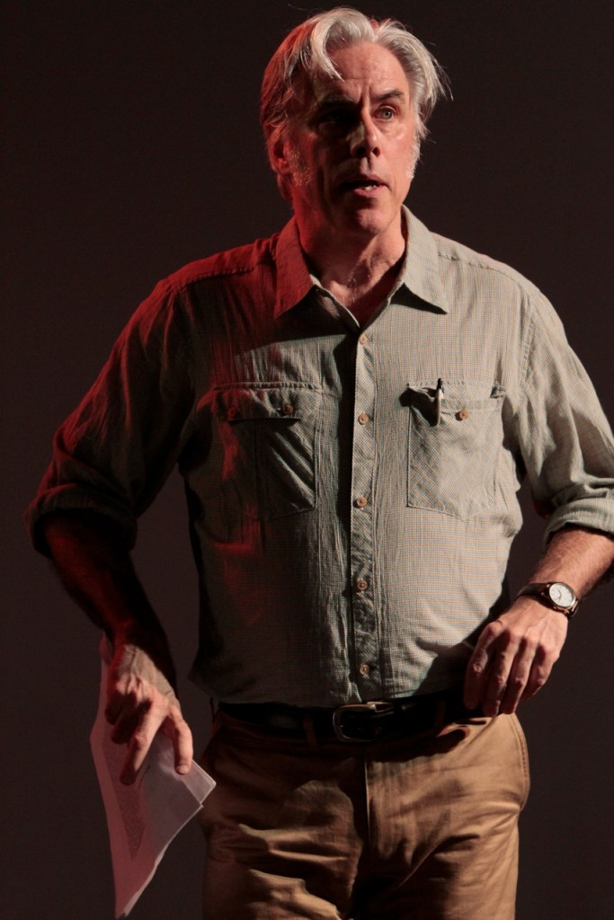 """Jeff McCarthy as the climate scientist John Bjornson (based on James Hansen, the man who first told Congress about global warming) in the play """"Extreme Whether"""". Photo: Beatriz Schiller"""