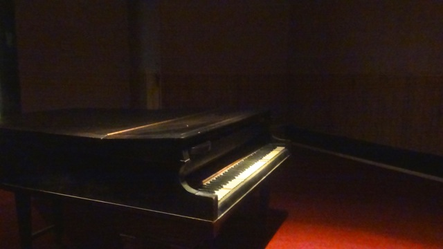 """Old piano inside of the abandoned Bethel AME Church, restored for the exhibit """"Bynam Cutler,"""" and part of """"Funk, God, Jazz and Medicine: Black Radical Brooklyn"""""""