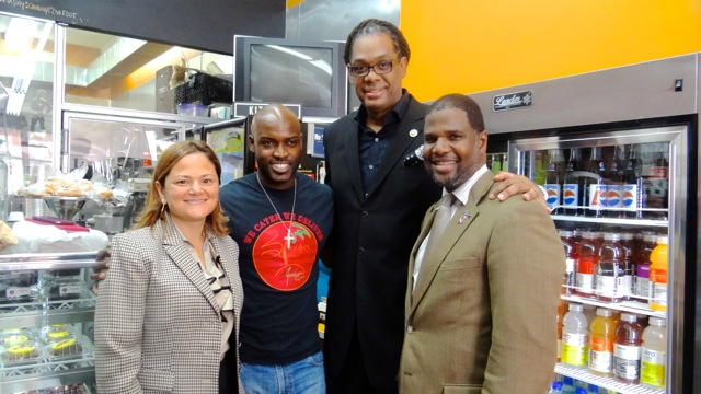 (l to r): City Council Speaker Melissa Mark-Viverito with Smokey Island Grille Co-Owner Tai Walker, City Councilmember Robert Cornegy, Jr., and Michael Lambert, executive director of the Fulton Street Business Improvement District