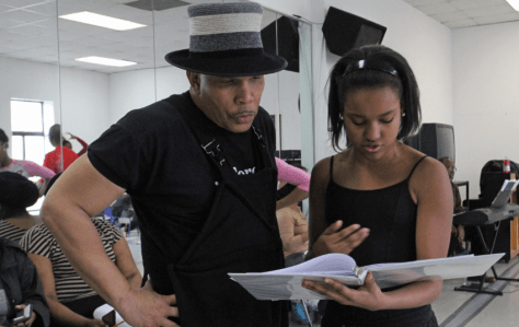 Colby going over her script with choreographer Abdel Salaam