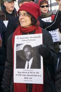Two many lost; the Brooklyn for Peace and Fort Greene Peace feeder march remembered our neighbors. Photo of Karen Malpede is by Matt Weinstein, both members of the two peace groups.