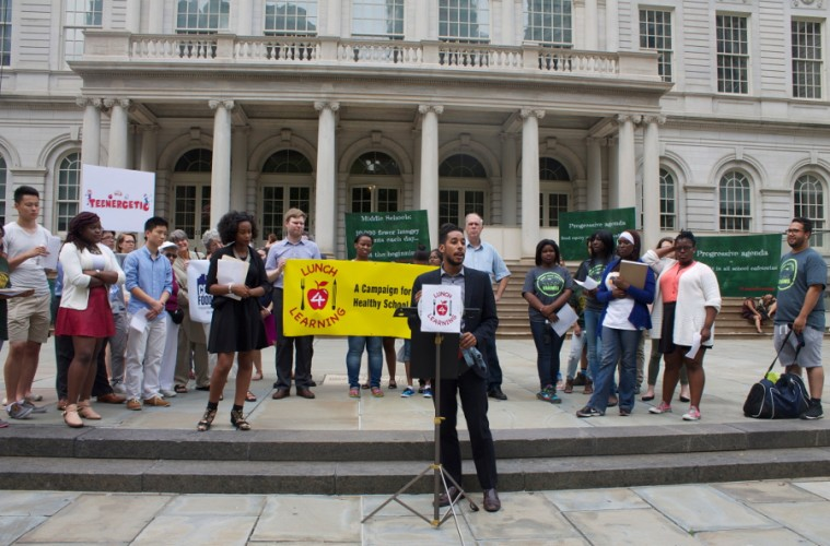 Universal Free Lunch Advocates Rally At City Hall