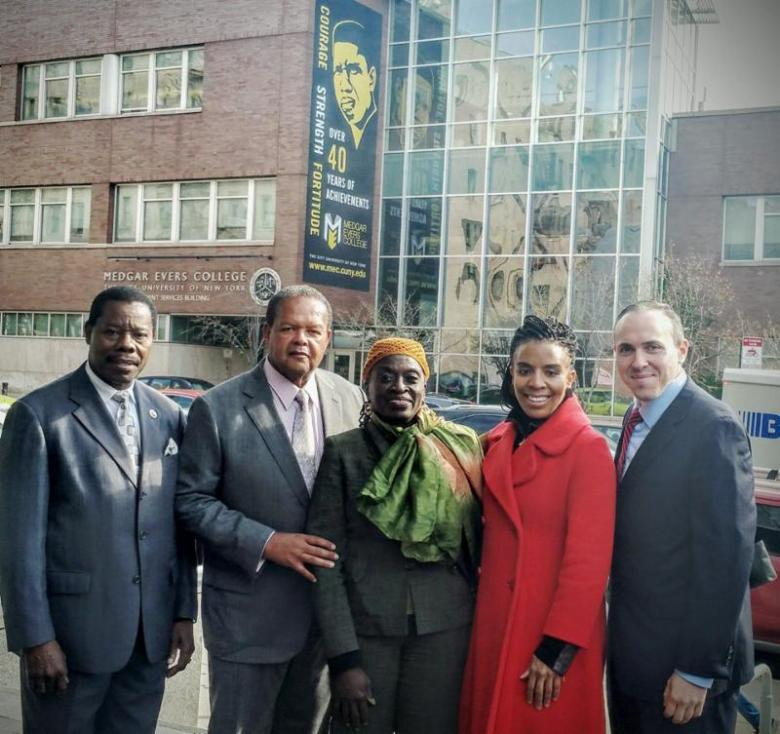 Council Members Mathieu Eugene, Inez Barron, and Mark Treyger as well as Dr. Rudy Crew, president of Medgar Evers College announced a $2.2M allocation for the academic institution.
