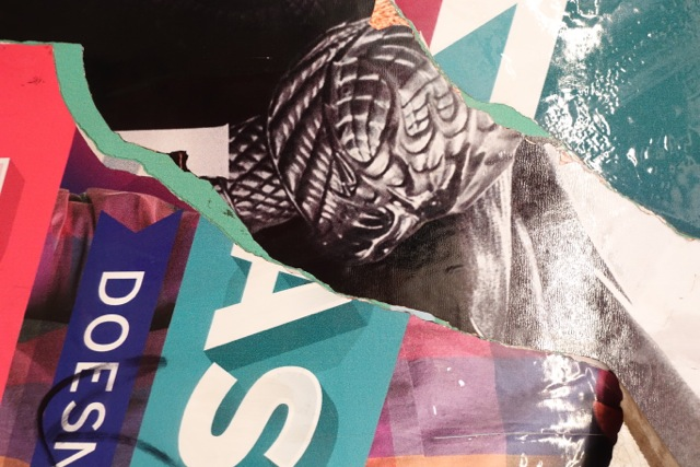 Layer upon layer of poster art in a Brooklyn subway (Photo by Sotero Bernal)