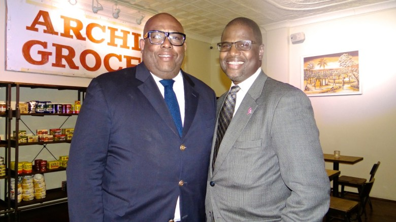 (l to r): Resident Kenneth Mbonu and Michael Lambert, executive director for the Bed-Stuy Gateway Business Improvement District