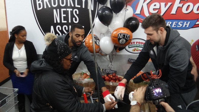 The Knicks joined with the Bed Stuy Campaign Against Hunger to help with the organizations annual turkey giveaway event