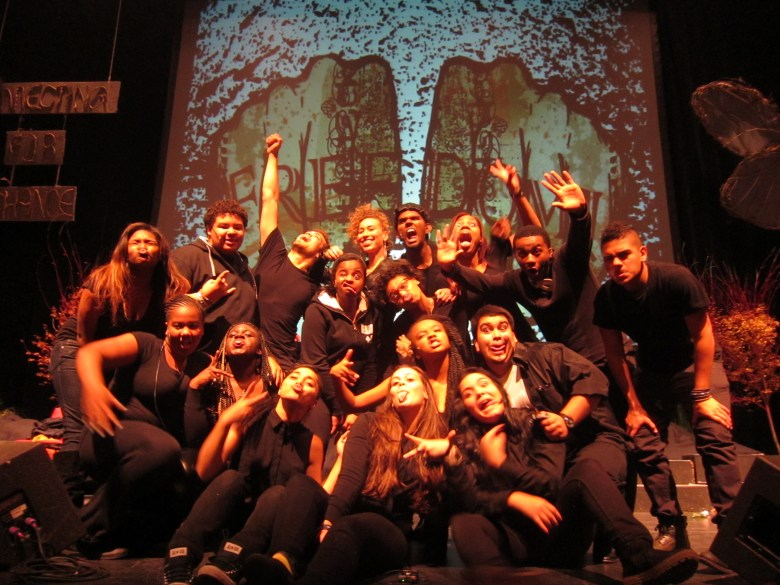 Truthworker Theatre Company and Creative Director Samara Gaev (last row, center) after performance of BAR CODE: A performative analysis of the school to prison pipeline at The Marion Institute's Connecting for Change Conference October 2013