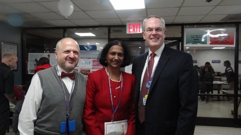 Dr. Kusum Viswanathan (center) and Brookdale Hospital President and CEO Mark Toney