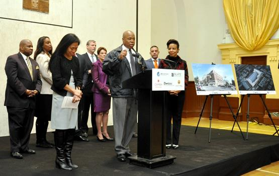 Brooklyn Borough President Eric L. Adams joined NYCEDC President Maria Torres-Springer (left-center), Council Member Laurie A. Cumbo (right-center), and Bedford Courts LLC, a joint venture of Brooklyn-based developers BFC Partners and Slate Property Group, in partnership with local elected officials and community leaders, to announce an approximately 500,000 square foot mixed-use development at the Bedford Union Armory in Crown Heights. Photo: Erica Sherman/Brooklyn BP's Office