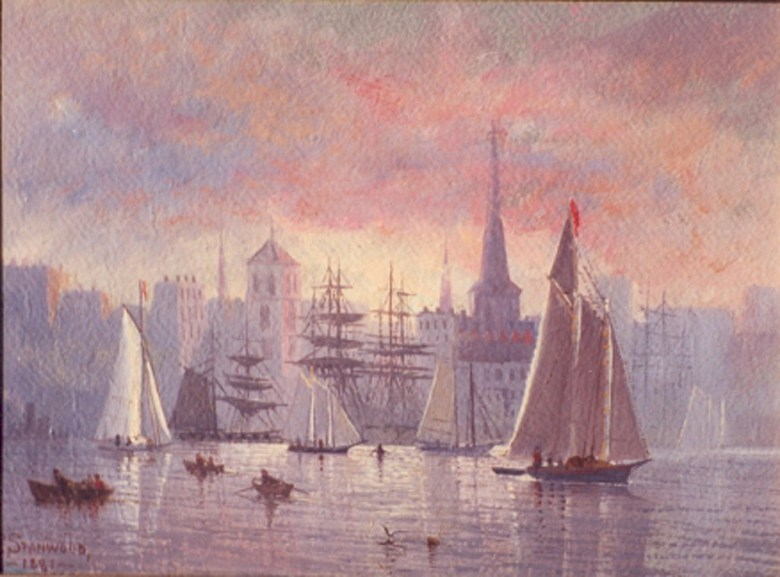 Art by Franklin Stanwood American, (1852-1888); Early Morning, New York Harbor, 1881