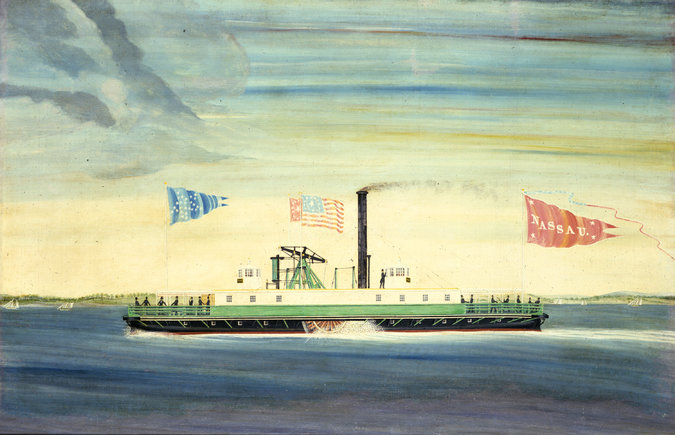 The Nassau, a twin-hulled boat, was the first regularly scheduled steam-powered ferry from Brooklyn to Manhattan