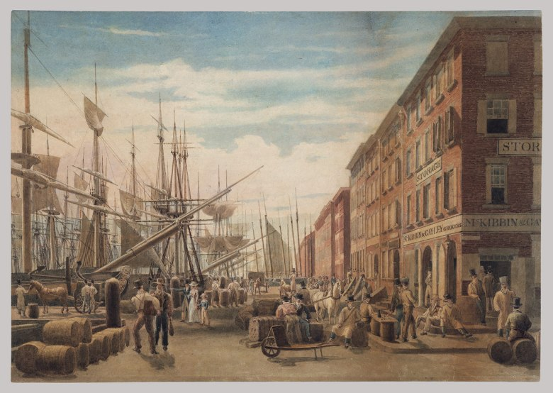 Working Title/Artist: View of South Street, from Maiden Lane, New York Nineteenth-Century American Drawings| Heilbrunn
